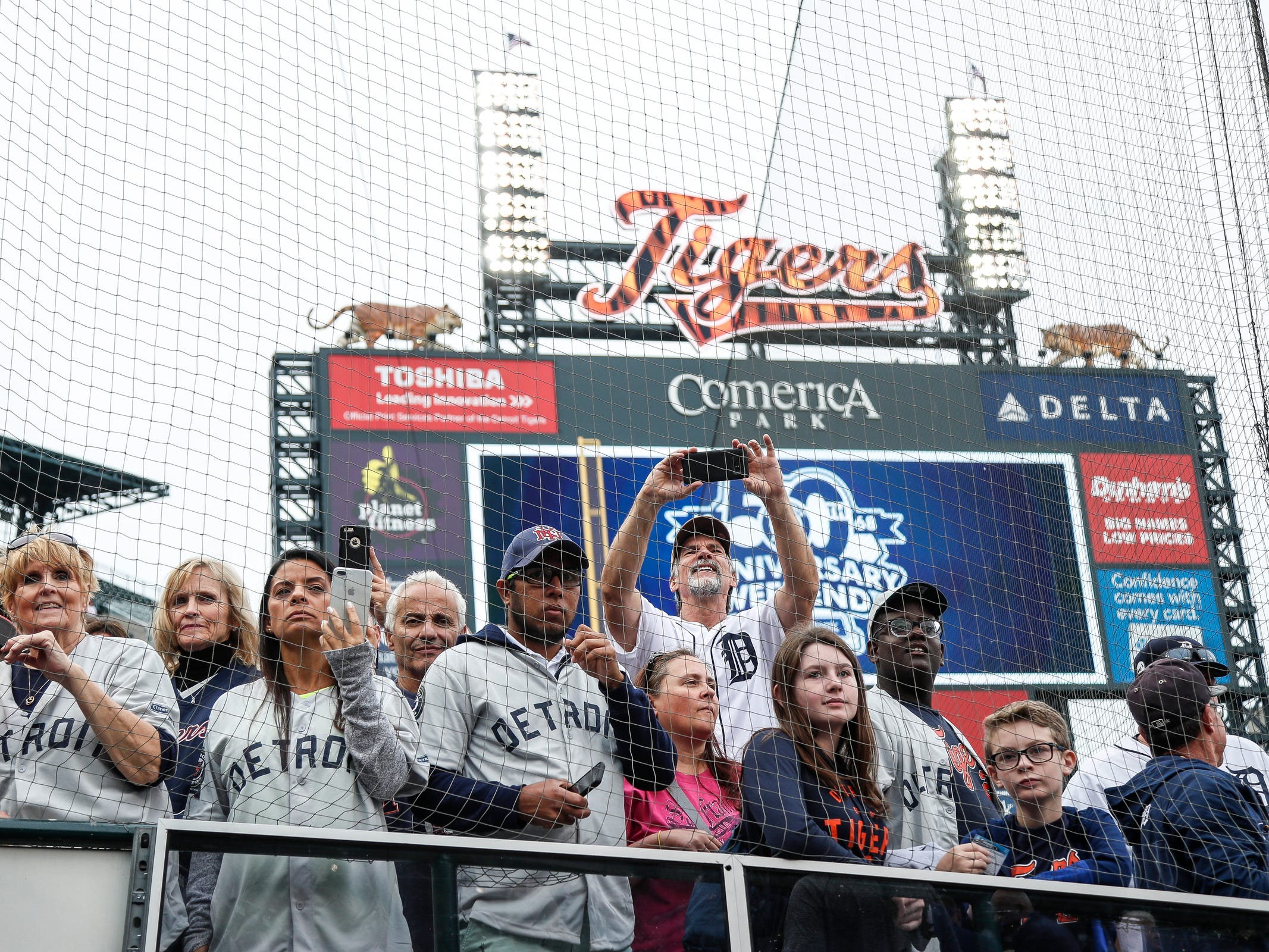 Fans cheer as the 1968 Detroit Tigers players are introduced during the celebration of the 50th anniversary of the 1968 World Series championship at Comerica Park in Detroit, Saturday, Sept. 8, 2018.