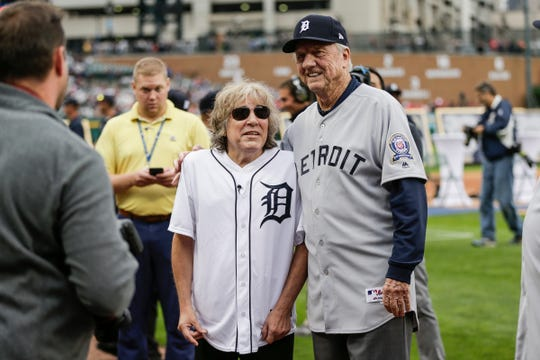 Former Detroit Tigers outfielder Al Kaline, right, poses for a photo with Jose Feliciano during the celebration of the 50th anniversary of the 1968 World Series championship at Comerica Park in Detroit, Saturday, Sept. 8, 2018.