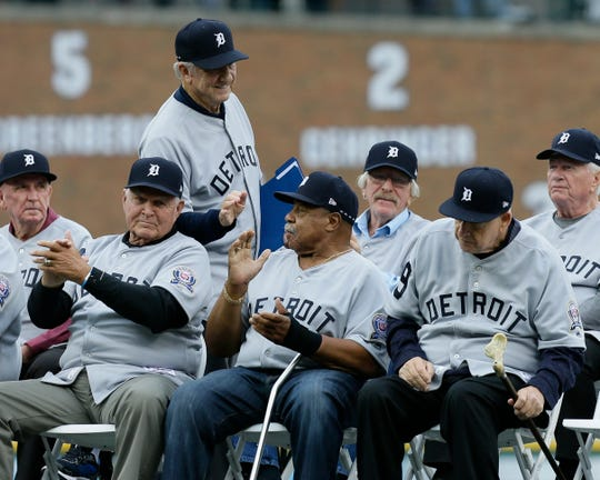 Al Kaline greets, from front left, Dick Tracewski, Willie Horton and Mickey Lolich, all members of the 1968 World Series championship, during the 50th anniversary ceremony Saturday, Sept. 8, 2018, in Detroit.
