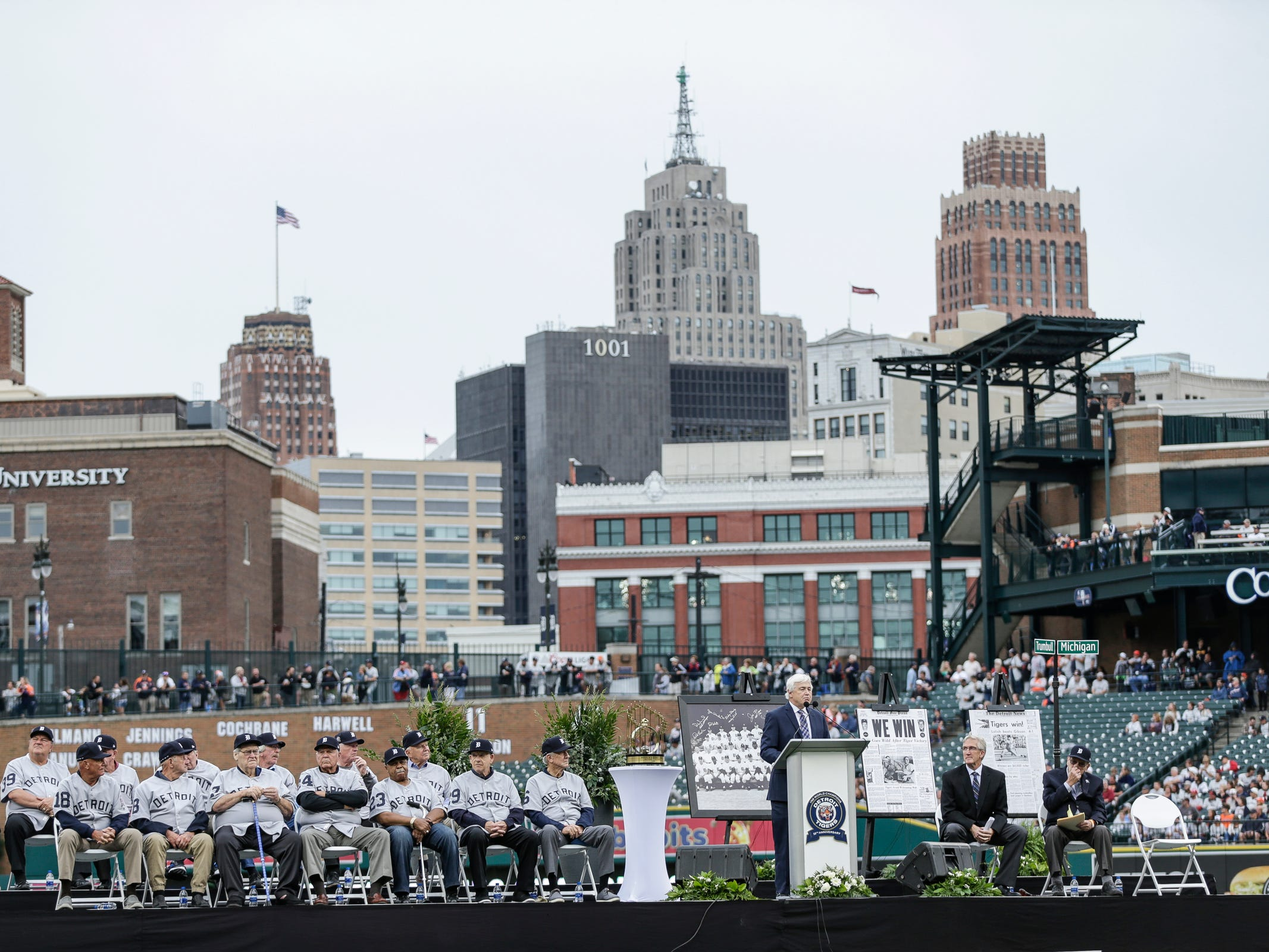 Detroit News columnist Lynn Henning speaks during the Detroit Tigers celebration of the 50th anniversary of the 1968 World Series championship at Comerica Park in Detroit, Saturday, Sept. 8, 2018.