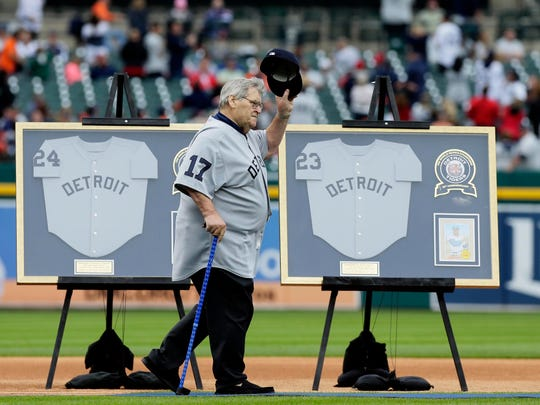 Former Detroit Tigers pitcher Denny McLain acknowledges the fans as he is introduced for the 1968 World Series championship 50th anniversary ceremony Saturday, Sept. 8, 2018, in Detroit.