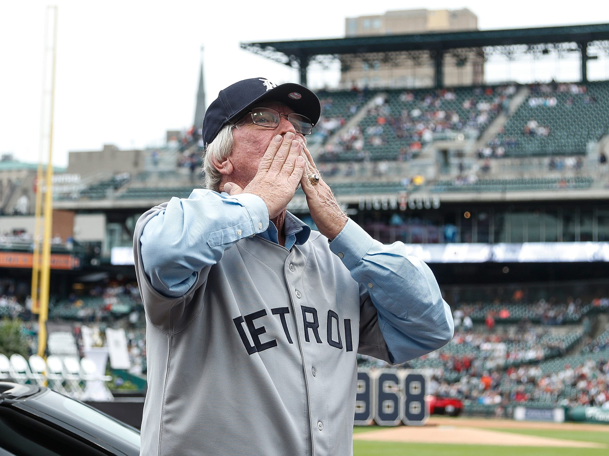 Former Detroit Tigers infielder Tom Matchick shows his appreciation of fans during the celebration of the 50th anniversary of the 1968 World Series championship at Comerica Park in Detroit, Saturday, Sept. 8, 2018.