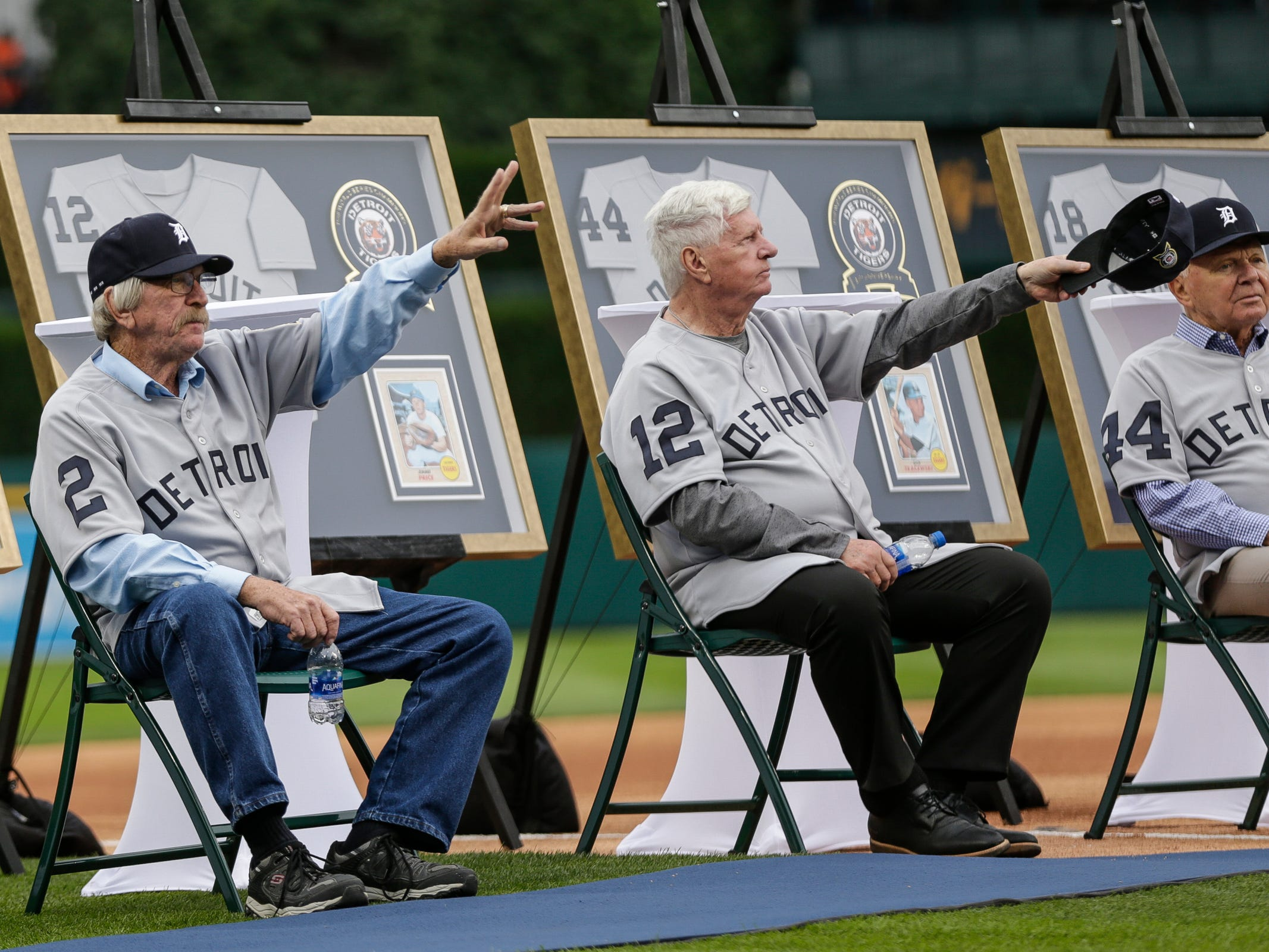 1968 Detroit Tigers World Series championship team is honored, including Tom Matchick (2) and Jim Price (12), during the celebration of the 50th anniversary of the 1968 World Series championship at Comerica Park in Detroit, Saturday, Sept. 8, 2018.