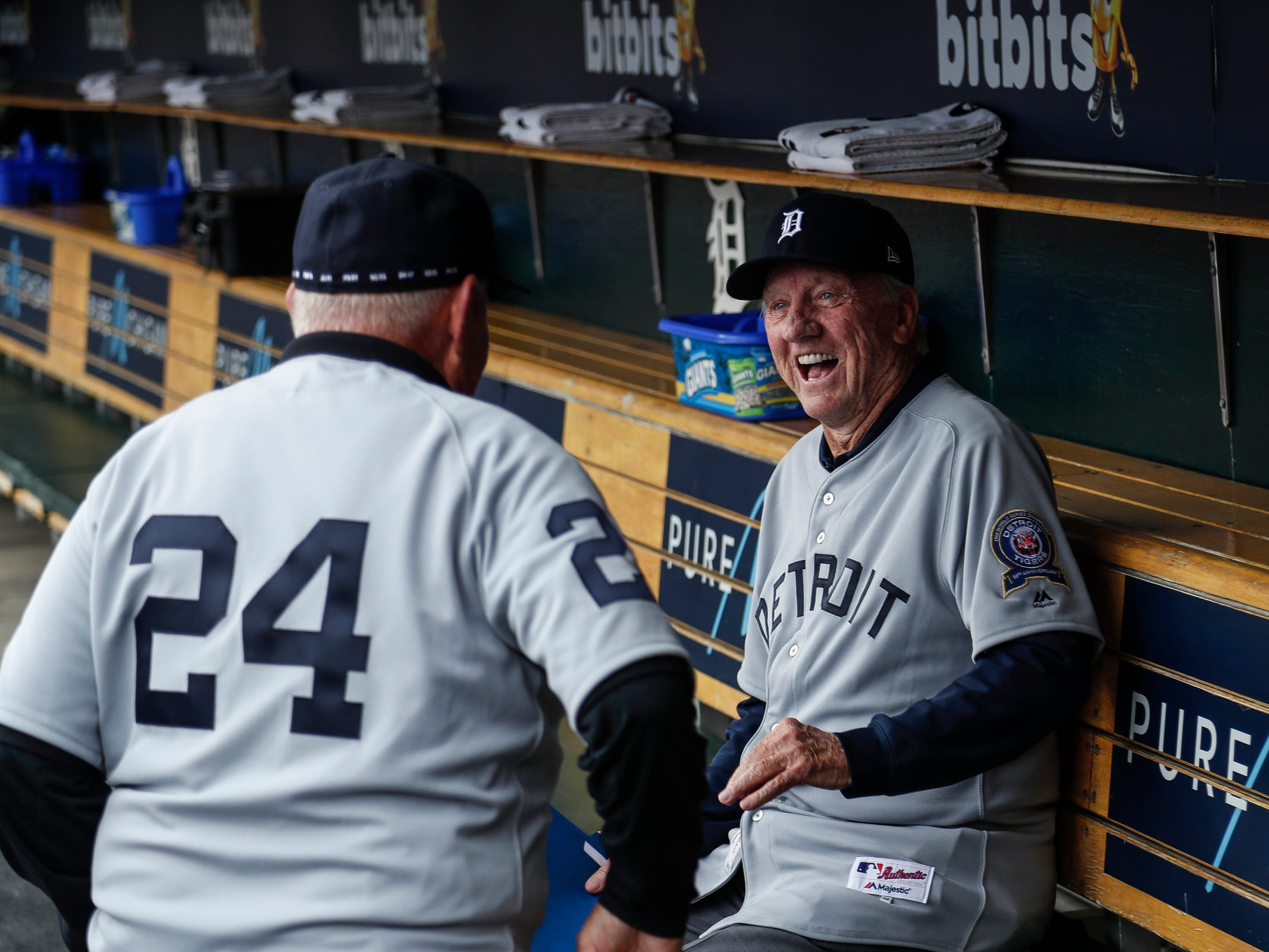 Former Detroit Tigers outfielder Al Kaline, center, reacts as he watches outfielder Mickey Stanley walk into the dugout during the 50th anniversary of the 1968 World Series championship at Comerica Park in downtown Detroit, Saturday, Sept. 8, 2018.