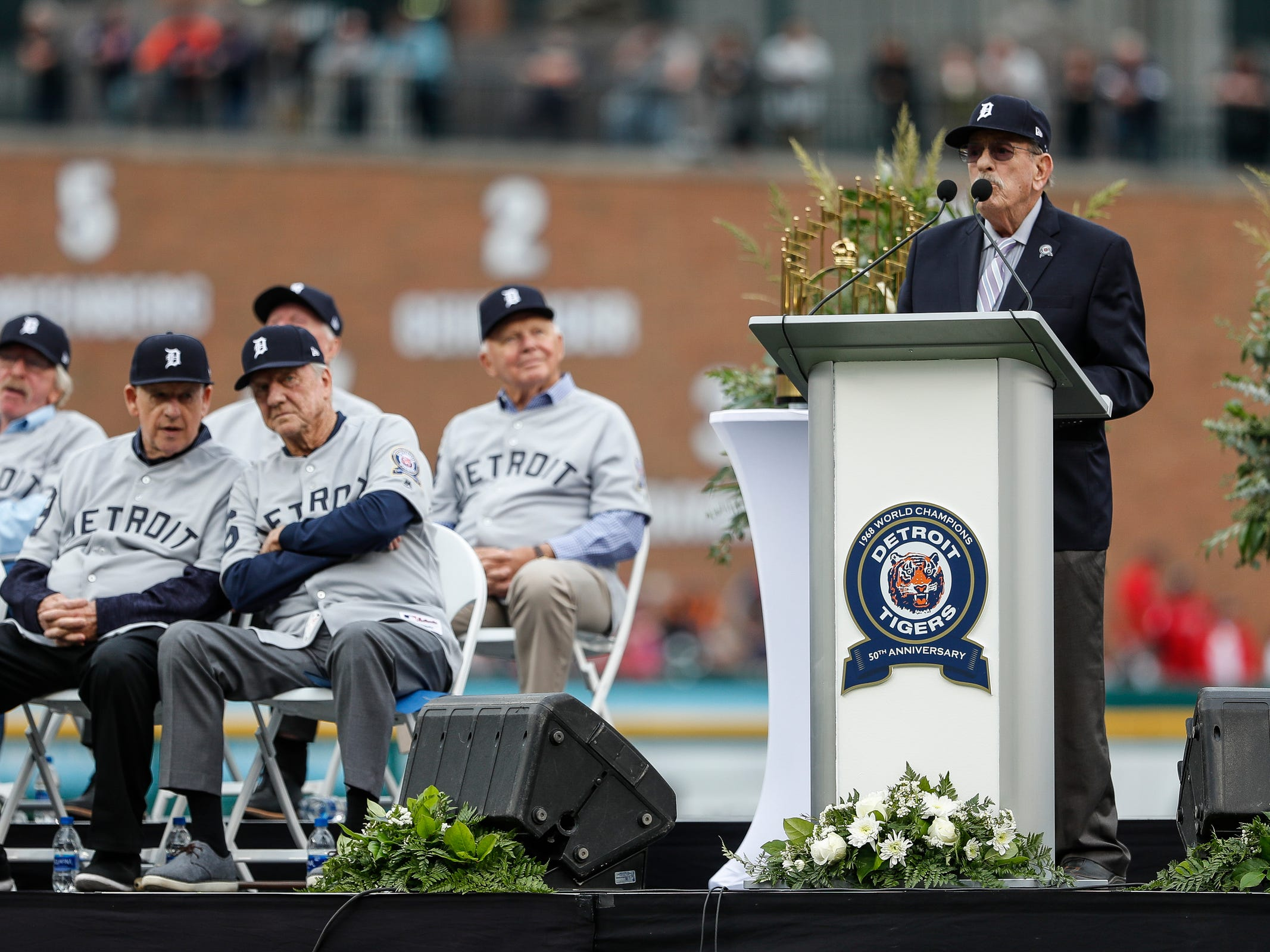 Sportscaster Ray Lane speaks during the Detroit Tigers celebration of the 50th anniversary of the 1968 World Series championship at Comerica Park in Detroit, Saturday, Sept. 8, 2018.