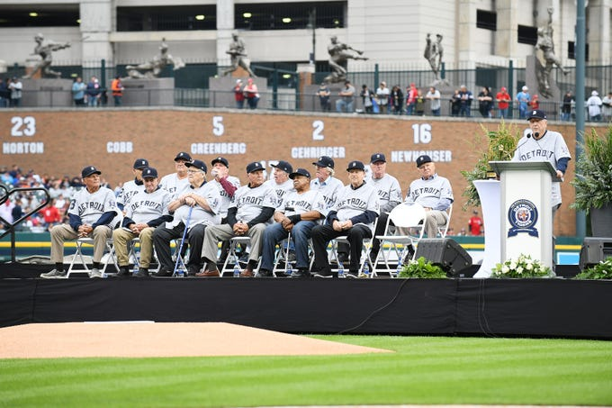 Tigers legend Al Kaline, right, speaks during a pregame ceremony honoring the 1968 World Series-champion Tigers at Comerica Park on Saturday, Sept. 8, 2018.