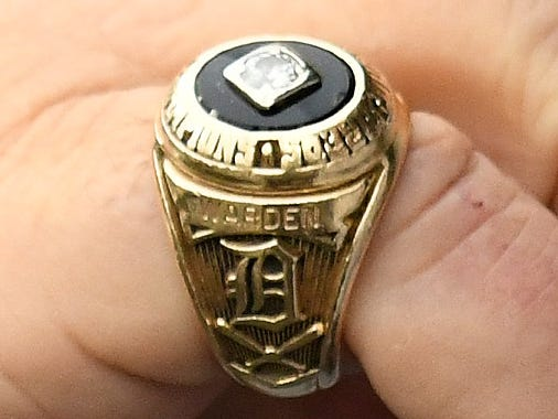 The World Series ring worn by pitcher Jon Warden.