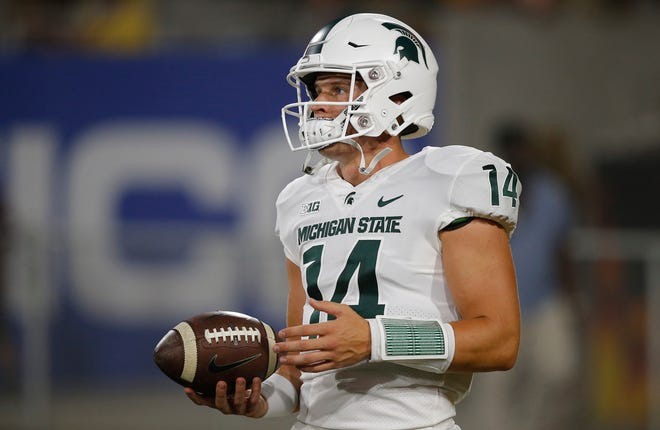 Michigan State quarterback Brian Lewerke is trying to find some consistency.