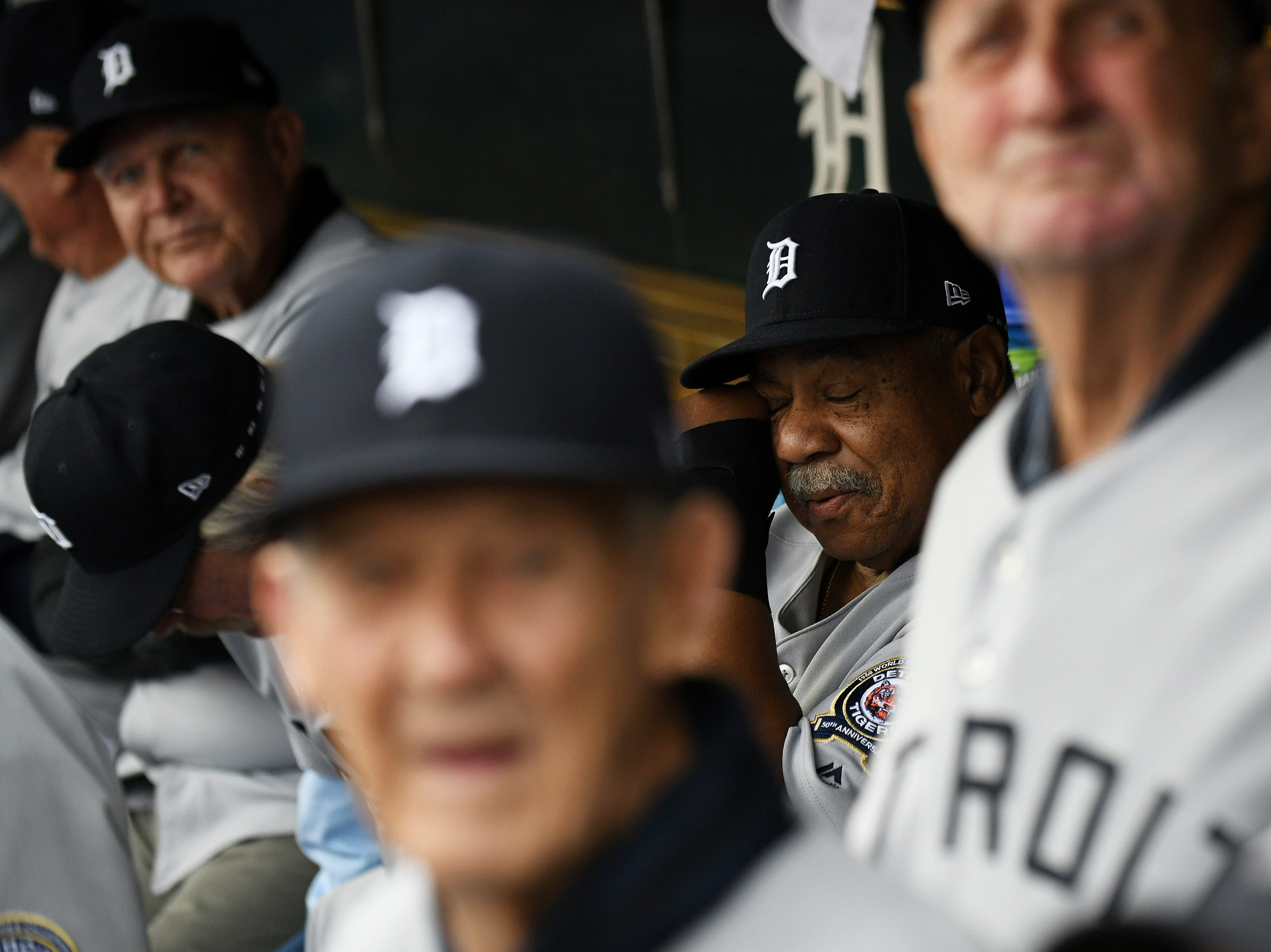 Willie Horton, member of the 1968 Tigers, wipes away a tear after the video montage is played.