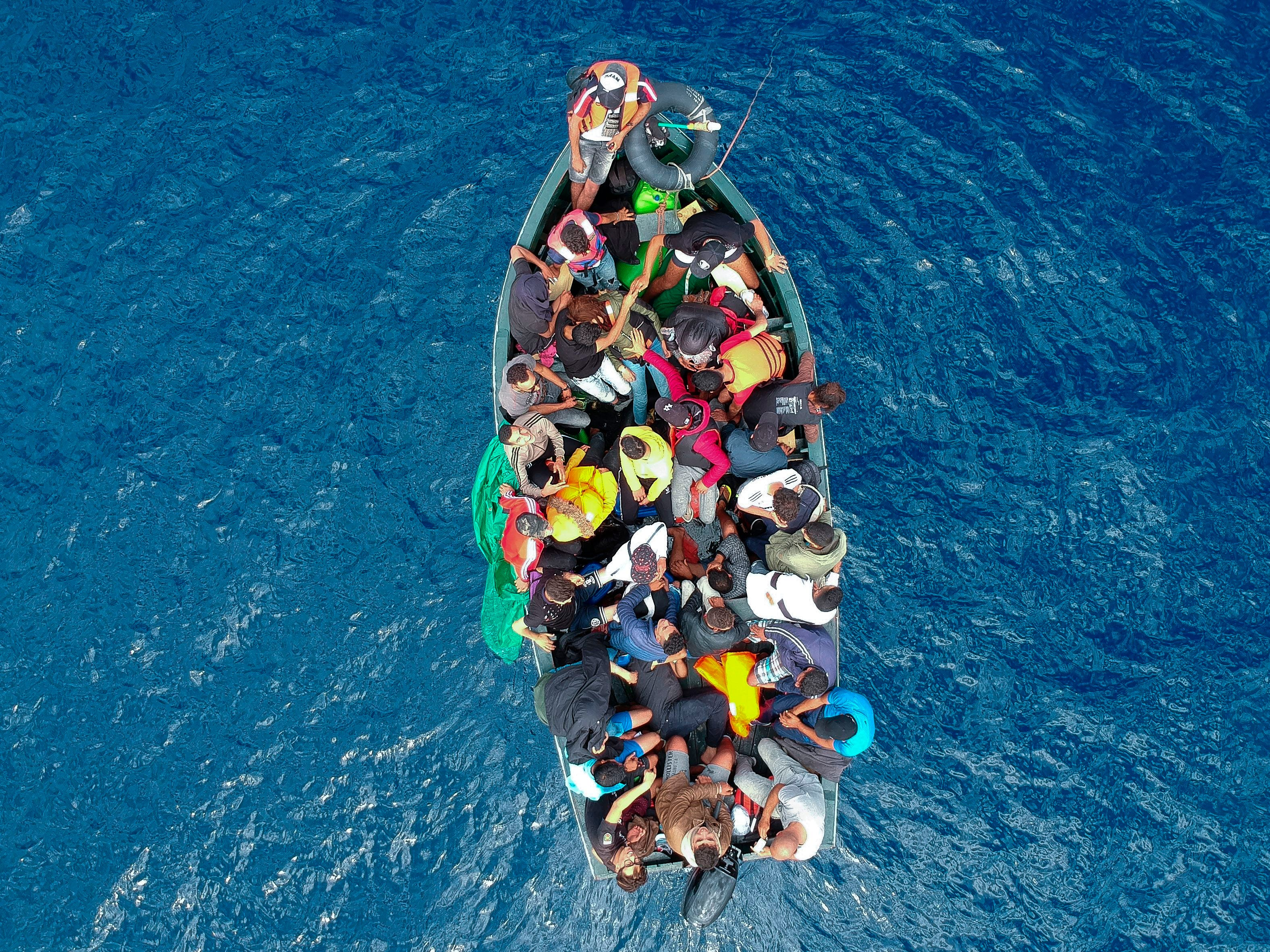 A boat carrying migrants was stranded in the Strait of Gibraltar before being rescued by the Spanish Guardia Civil and the Salvamento Maritimo sea search and rescue agency on September 8, 2018.