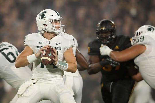 Michigan State quarterback Brian Lewerke looks to lead the Spartans past a pesky foe in Northwestern.