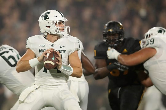Michigan State quarterback Brian Lewerke looks to lead the Spartans past a pesky foe in Northwestern.