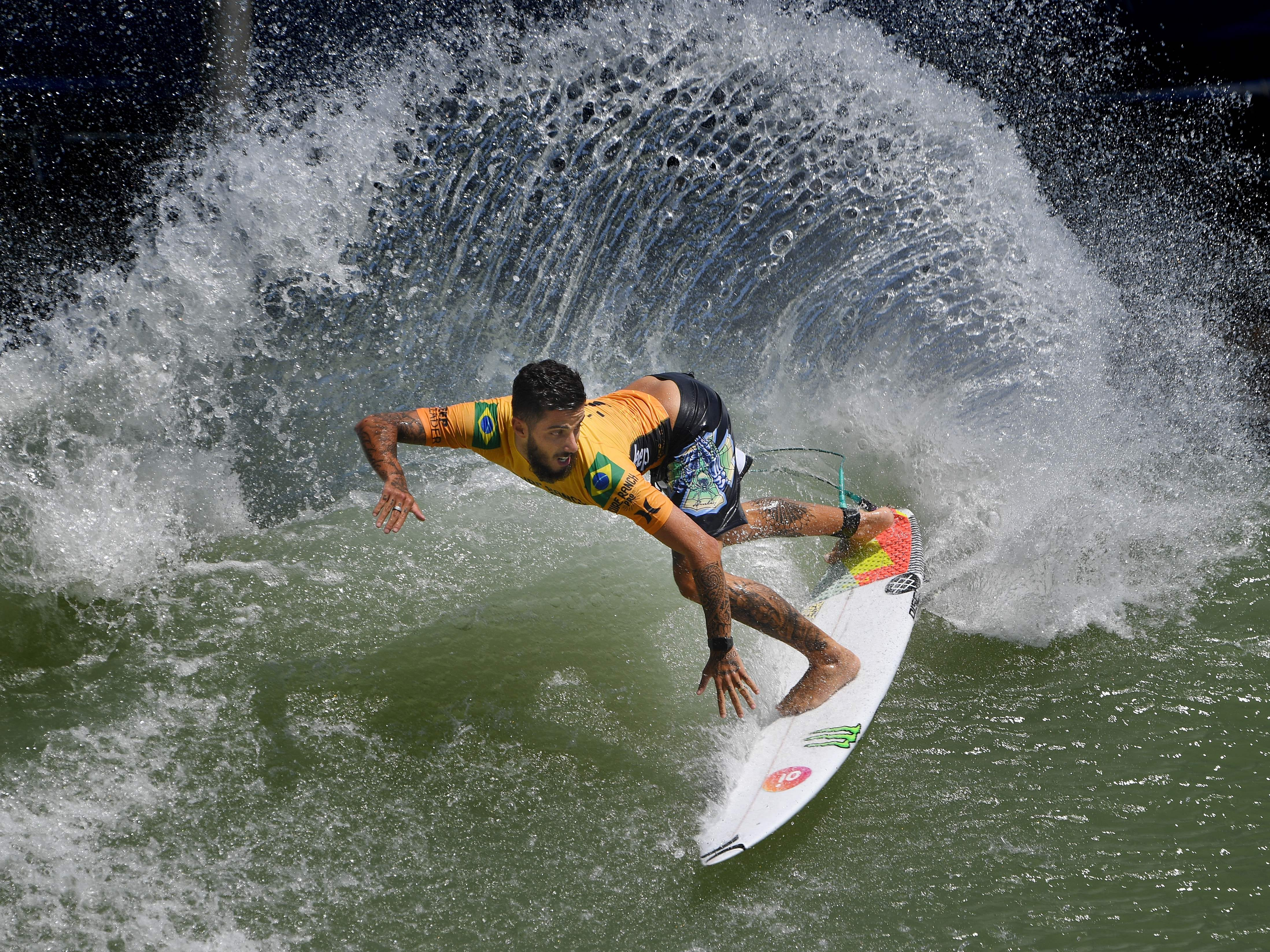 Filipe Toledo of Brazil surfs off the lip during the qualifying round of the WSL Surf Ranch Pro, at the Kelly Slater Surf Ranch in Lemoore, California on September 8, 2018.