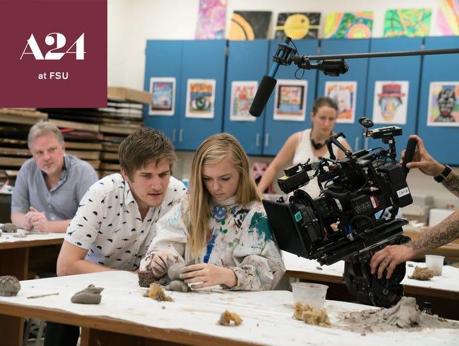 """Bo Burnham and Elsie Fisher on the set of """" Eighth Grade"""""""