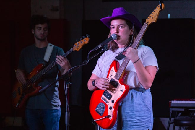 Bobby Kid's lead singer, Anna Lester (right), donned a purple cowboy hat halway through her band's set at the Wilbury on Thursday, September 6, Tallahassee, FL.