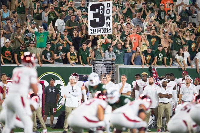 CSU fans make some noise while the Razorbacks prepare for a play as the Rams take on Arkansas at Canvas Stadium on Saturday, September 8, 2018.