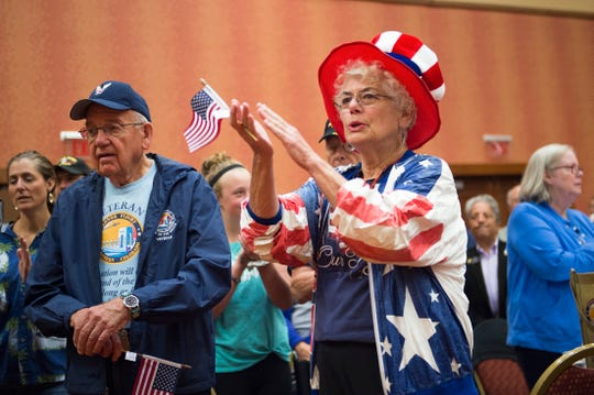 Norma Lloyd shows off her patriotism during a send-off for veterans participating in Honor Flight Northern Colorado at Embassy Suites in Loveland on Sunday, September 9, 2018. Honor Flight Northern Colorado sent one last group of veterans to Washington D.C. to visit war memorials in the nation's capital.