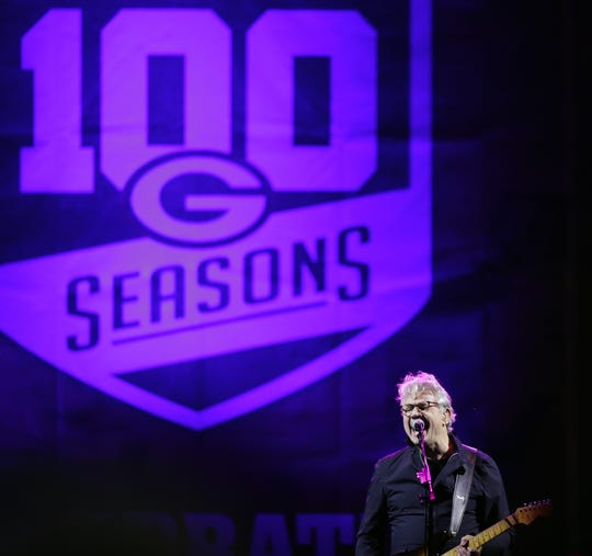 Steve Miller performs outside Lambeau Field on Saturday night. The free concert kicked off the start of the Green Bay Packers' 100th season.