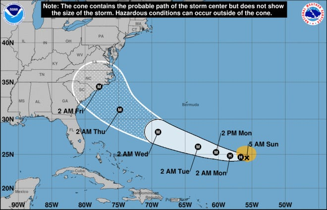 The probable path of Tropical Storm Florence as of 5 a.m. Sunday, Sept. 9.