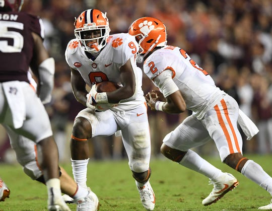 Clemson running back Travis Etienne (9) carries against Texas A&M during the 3rd quarter at Texas A&M's Kyle Field in College Station, TX Saturday, September 8, 2018.