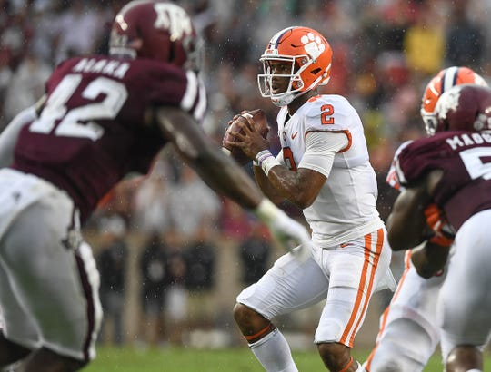 Clemson quarterback Kelly Bryant (2) looks to throw against Texas A&M during the 1st quarter at Texas A&M's Kyle Field in College Station, TX Saturday, September 8, 2018.