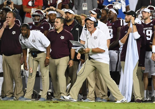 Texas A&M head coach Jimbo Fisher coaches against Clemson during the 4th quarter at Texas A&M's Kyle Field in College Station, TX Saturday, September 8, 2018.