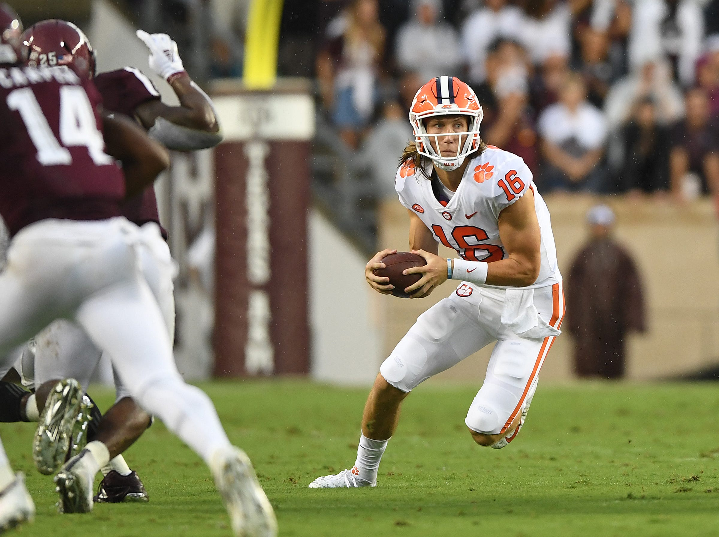 Clemson quarterback Trevor Lawrence (16) plays against Texas A&M during the 2nd quarter at Texas A&M's Kyle Field in College Station, TX Saturday, September 8, 2018.