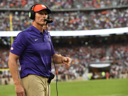 Clemson defensive coordinator Brent Venables coaches against Texas A&M during the 1st quarter at Texas A&M's Kyle Field in College Station, TX Saturday, September 8, 2018.