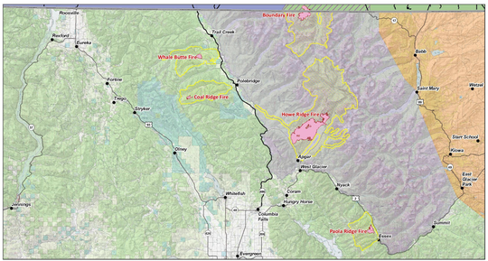 Locations of Glacier Park and Glacier Park-area fires as of Sept. 9.