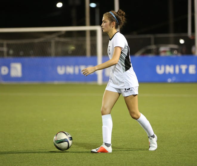 Riley Hoover, of the Masakåda, Guam's national women's team, looks for options on the field during a recent training session at the Guam Football Association National Training Center. The Masakåda finished 1-1-1 in the recently concluded EAFF E-1 Football Championship Round 1 tournament in Ulaanbaatar, Mongolia.