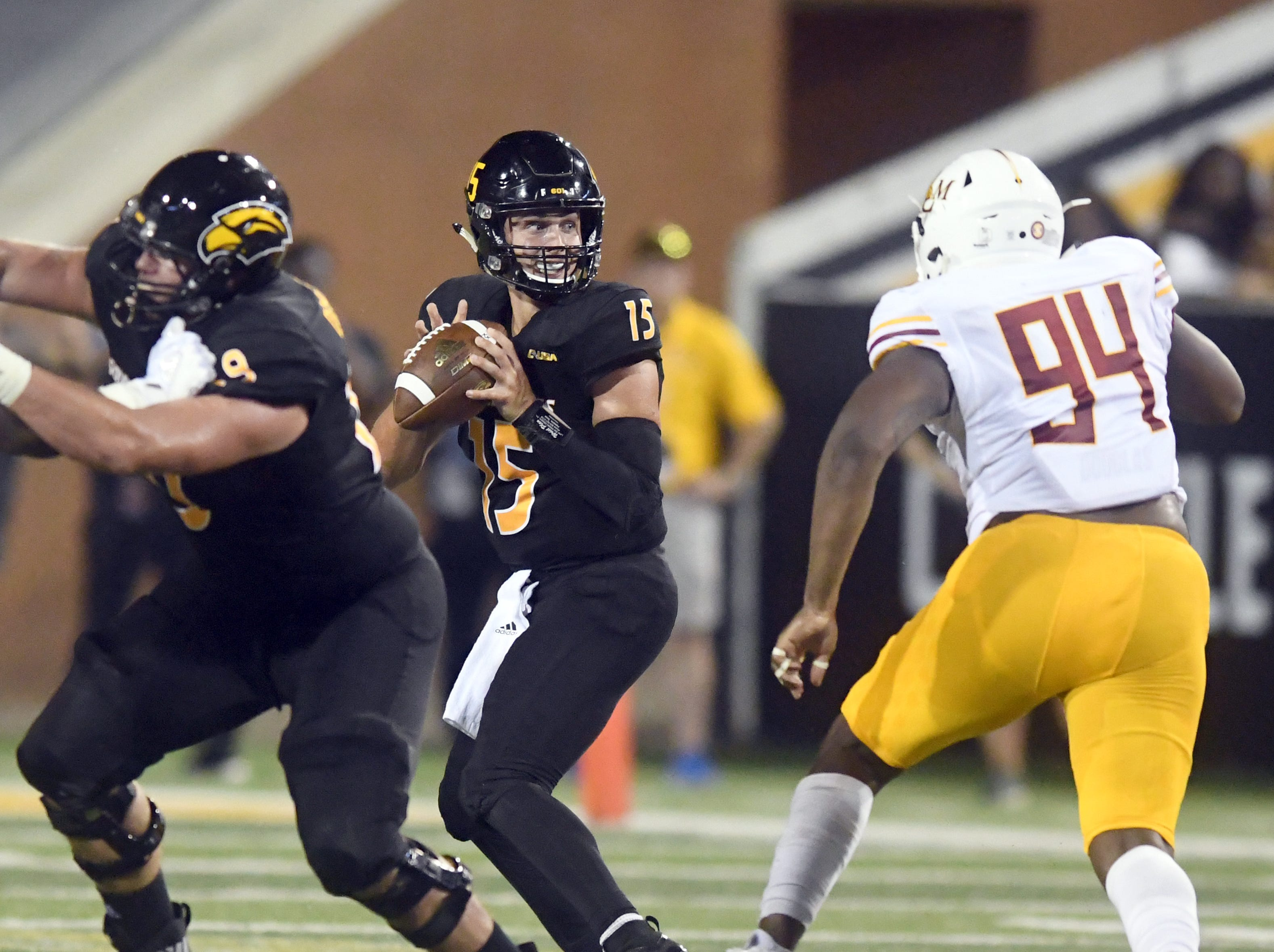 Southern Miss quarterback Jack Abraham looks for a receiver in a game against ULM in M.M. Roberts Stadium on Saturday, September 8, 2018.