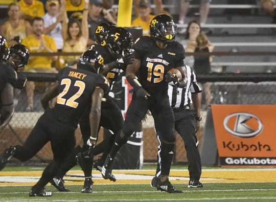 Southern Miss defensive back Ky'el Hemby intercepts the ball in a game against ULM in M.M. Roberts Stadium on Saturday, September 8, 2018.
