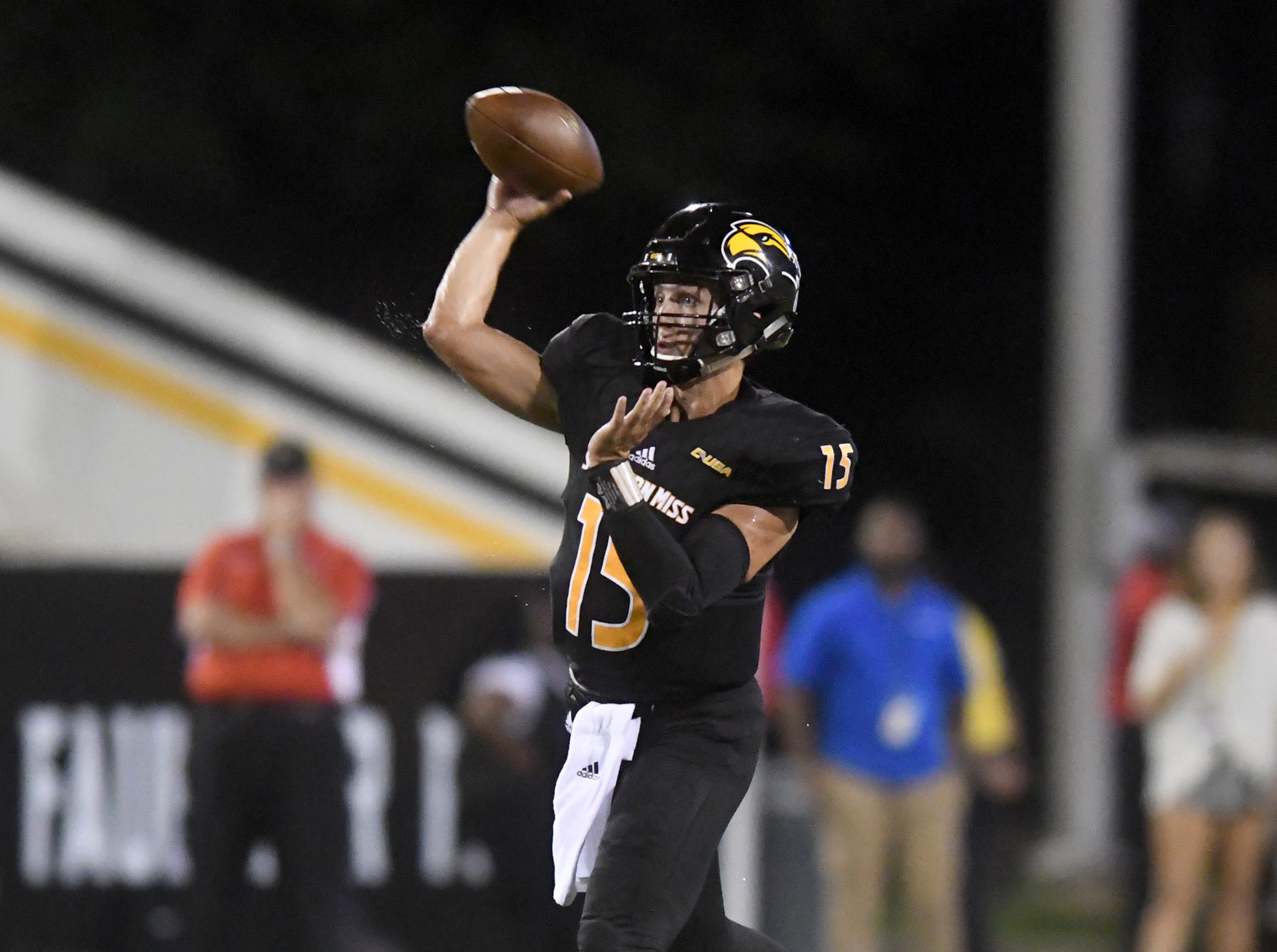 Southern Miss quarterback Jack Abraham throws the ball in a game against ULM in M.M. Roberts Stadium on Saturday, September 8, 2018.