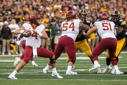 Iowa State quarterback Zeb Noland (4) looks to pass during the Cy-Hawk NCAA football game on Saturday, Sept. 8, 2018, at Kinnick Stadium in Iowa City.
