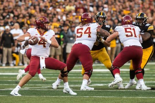 Iowa State quarterback Zeb Noland (4) looks to pass during the Cy-Hawk NCAA football game on Saturday, Sept. 8, 2018, at Kinnick Stadium in Iowa City.