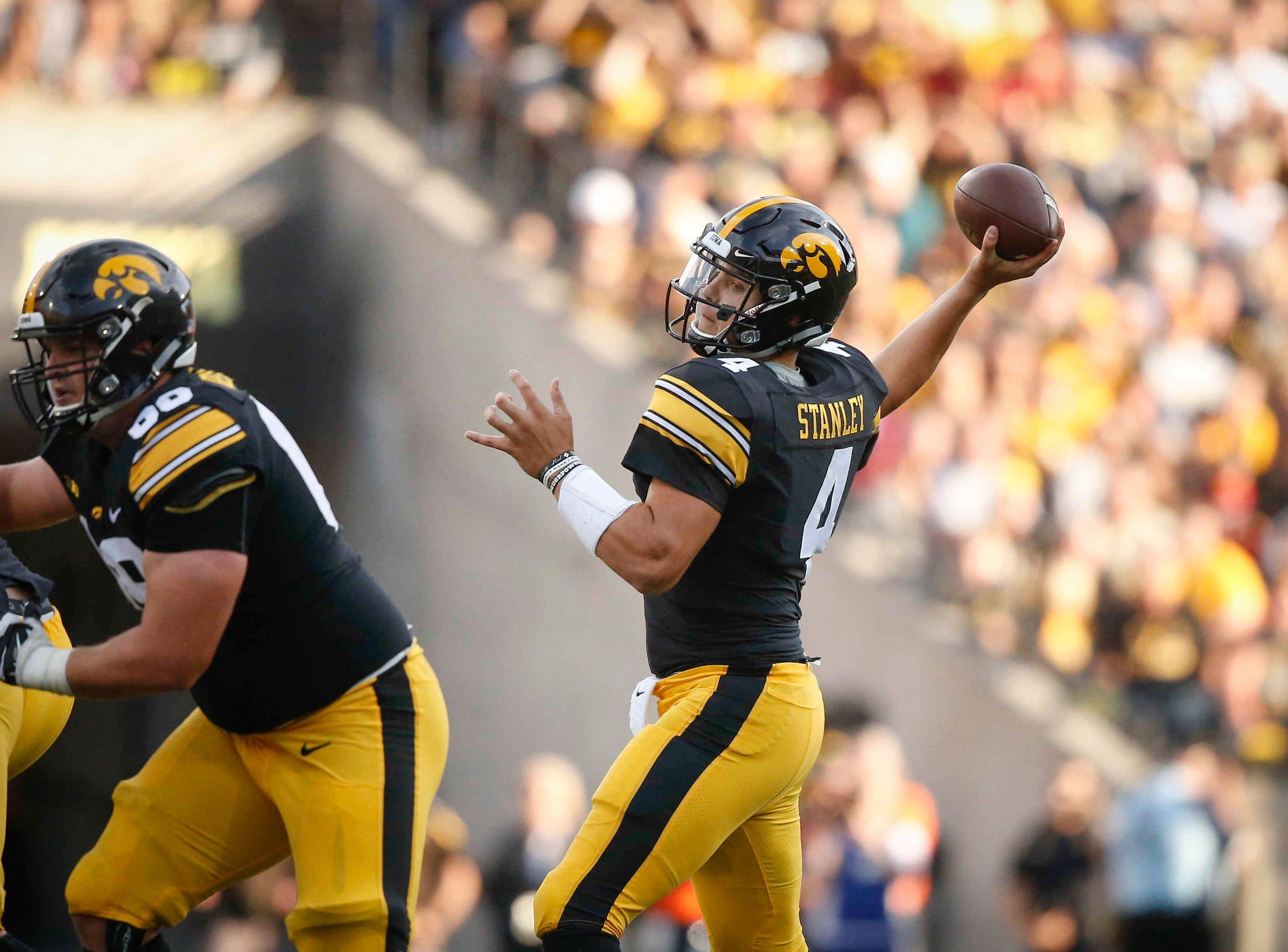 Iowa quarterback Nate Stanley fires a throw against Iowa State on Saturday, Sept. 8, 2018, at Kinnick Stadium in Iowa City.
