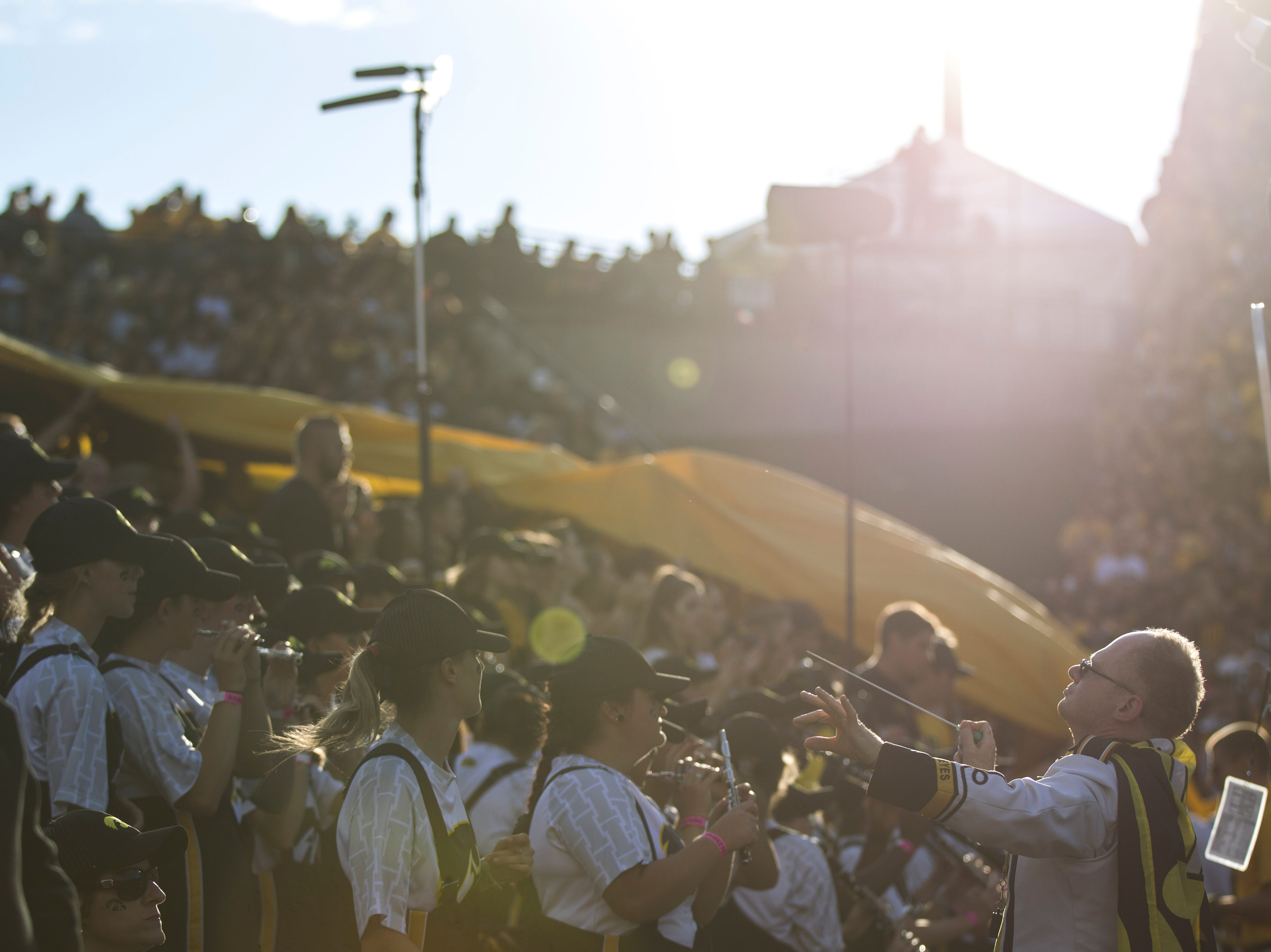 Members of the Iowa Hawkeye marching band perform during the Cy-Hawk NCAA football game on Saturday, Sept. 8, 2018, at Kinnick Stadium in Iowa City.