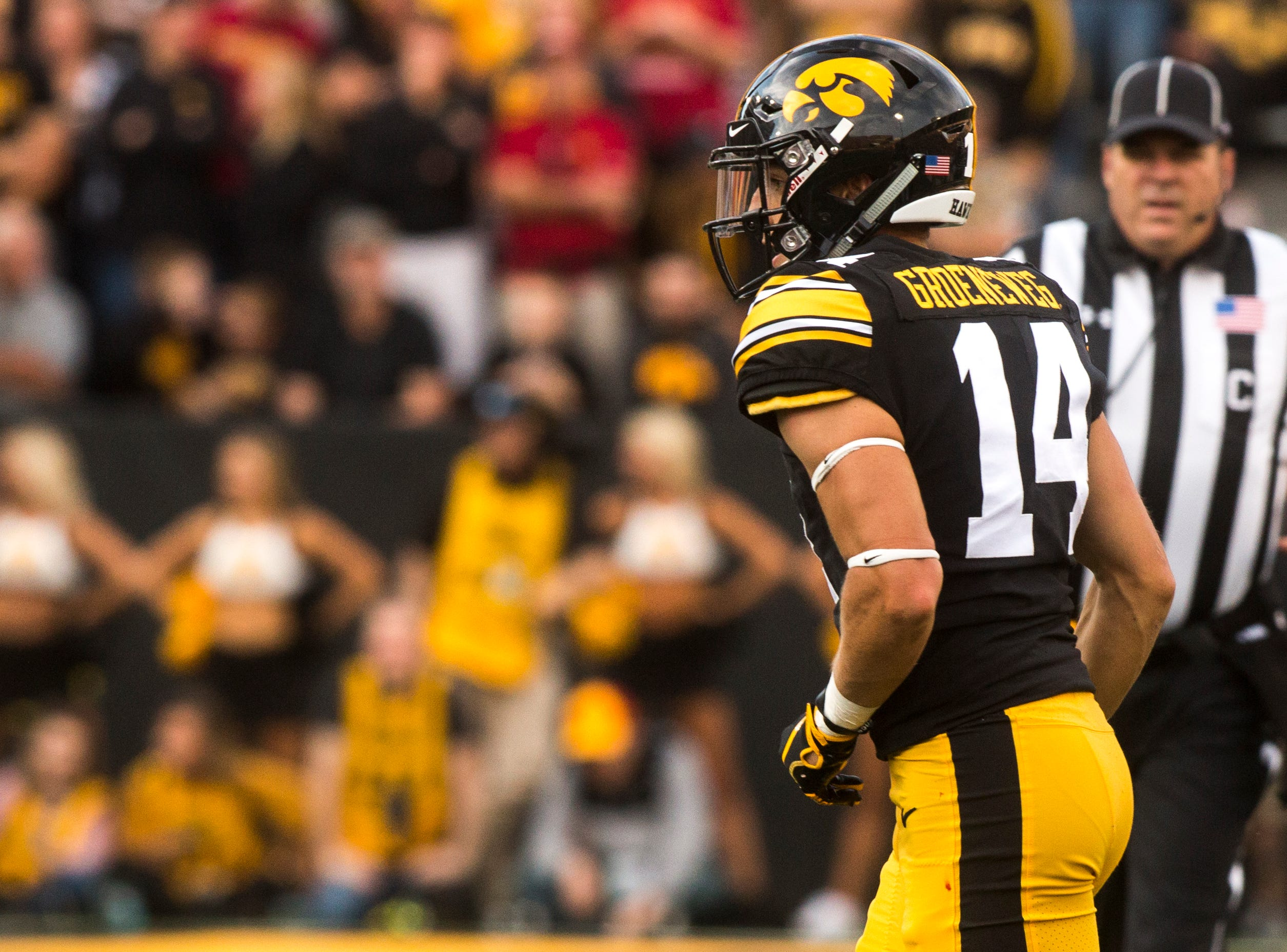 Iowa wide receiver Kyle Groeneweg (14) runs to the sideline during the Cy-Hawk NCAA football game on Saturday, Sept. 8, 2018, at Kinnick Stadium in Iowa City.