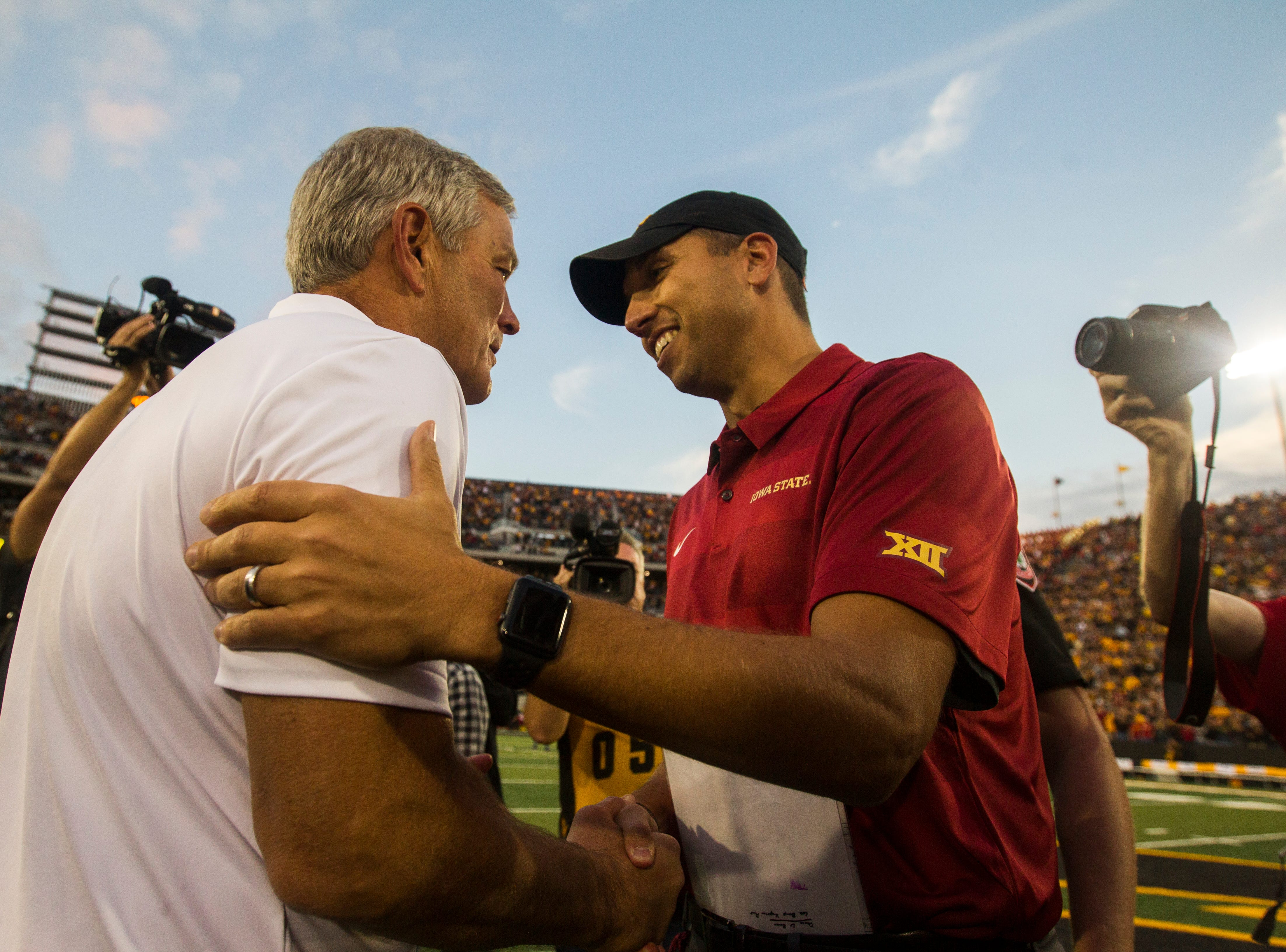 Iowa head coach Kirk Ferentz shakes hands with Iowa State head coach Matt Campbell after the Cy-Hawk NCAA football game on Saturday, Sept. 8, 2018, at Kinnick Stadium in Iowa City. The Hawkeyes defeated the Cyclones, 13-3.