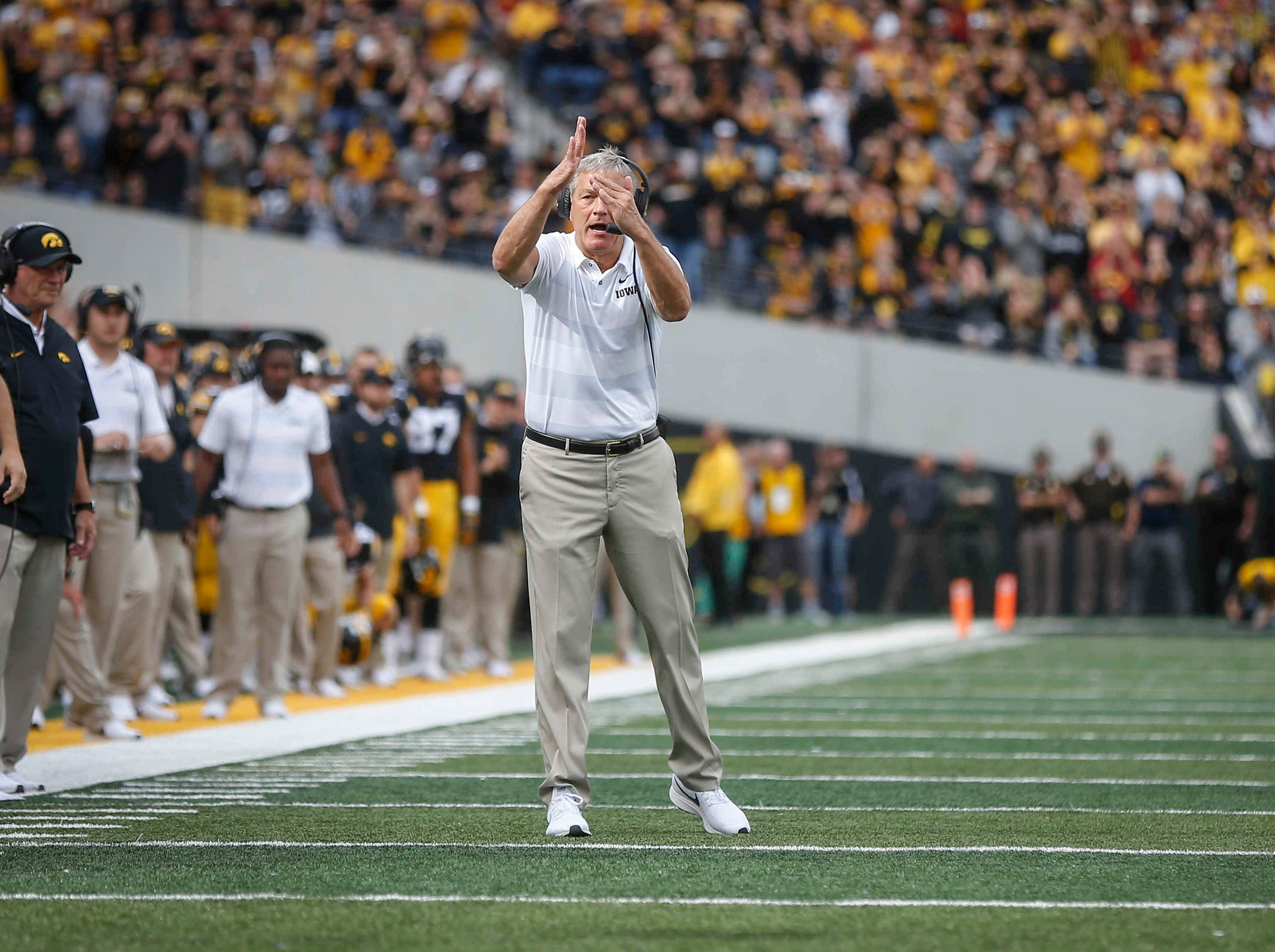 Iowa head football coach Kirk Ferentz calls a timeout in the first quarter against Iowa State on Saturday, Sept. 8 2018, at Kinnick Stadium in Iowa City.