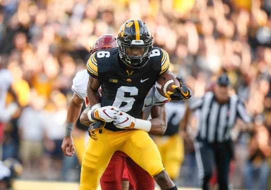Ihmir Smith-Marsette was injured on this play against Iowa State, after the speedy sophomore pulled in a 45-yard pass from Nate Stanley.