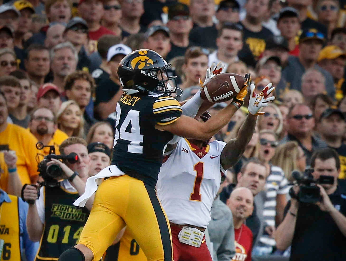 Iowa receiver Nick Easley goes up for the ball late in the game against Iowa State on Saturday, Sept. 8, 2018, at Kinnick Stadium in Iowa City.