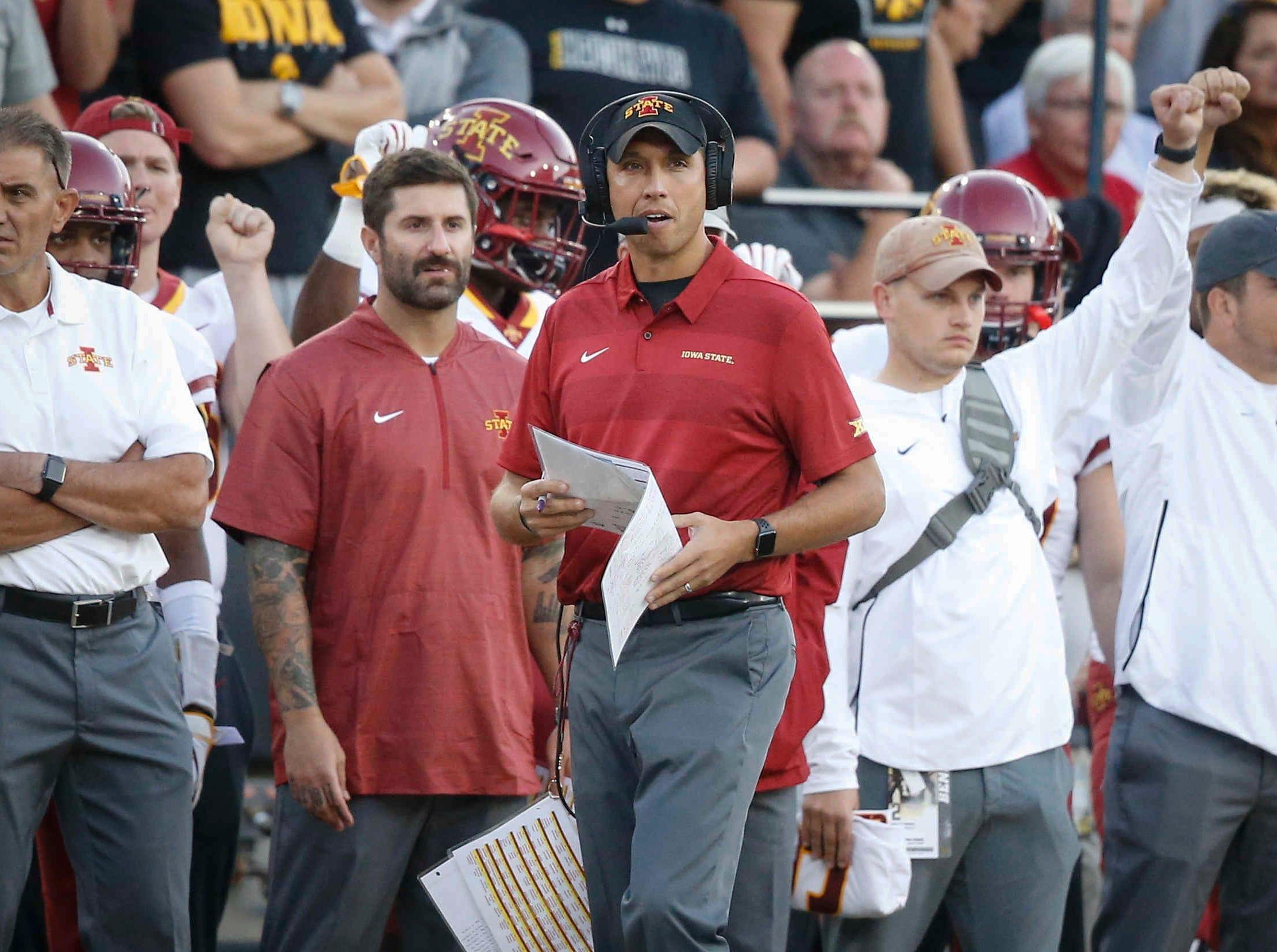 Iowa State head football coach Matt Campbell looks on after a play against Iowa on Saturday, Sept. 8, 2018, at Kinnick Stadium in Iowa City.