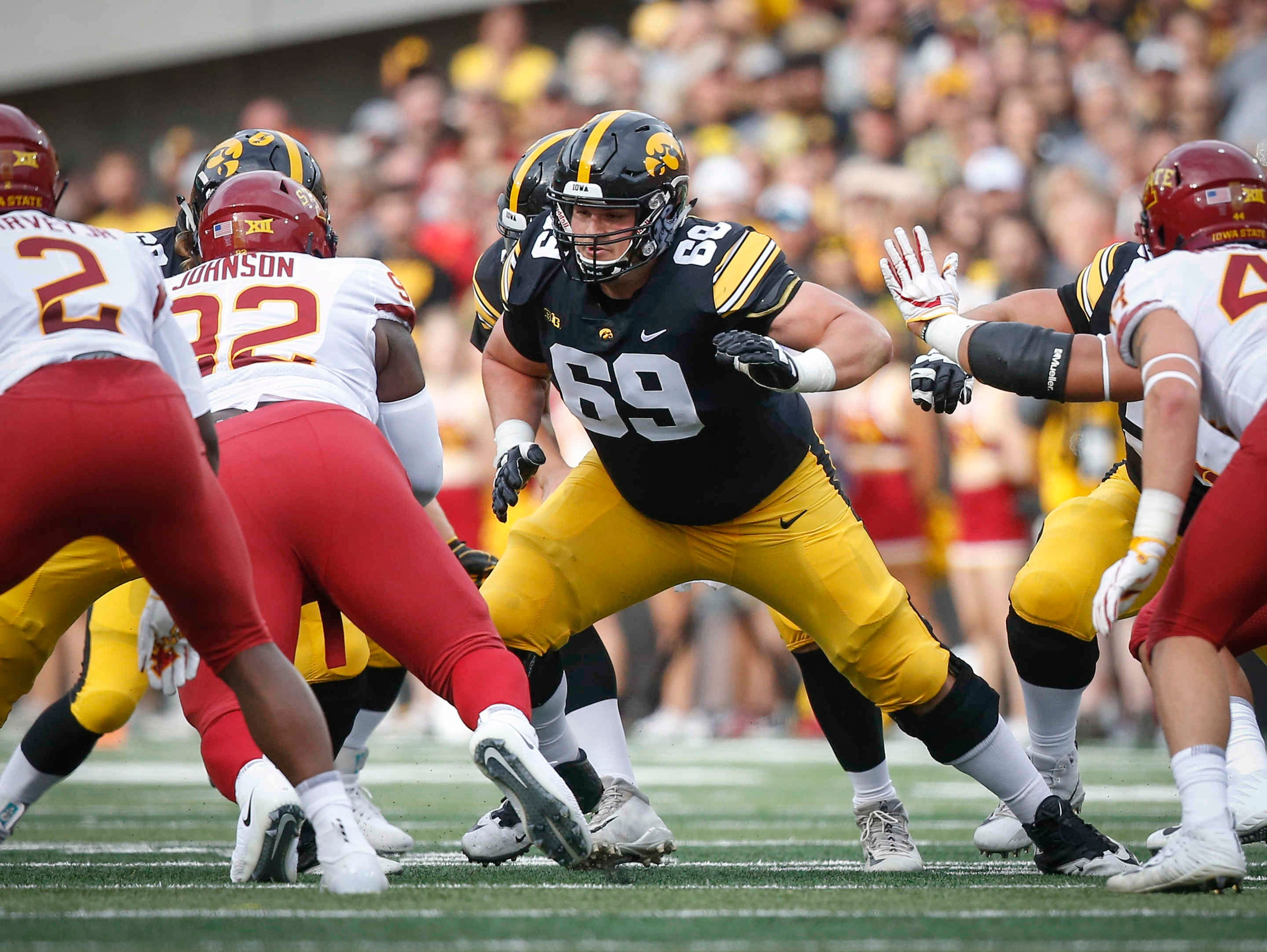 Iowa center Keegan Render helps protect the pocket against Iowa State on Saturday, Sept. 8, 2018, at Kinnick Stadium in Iowa City.