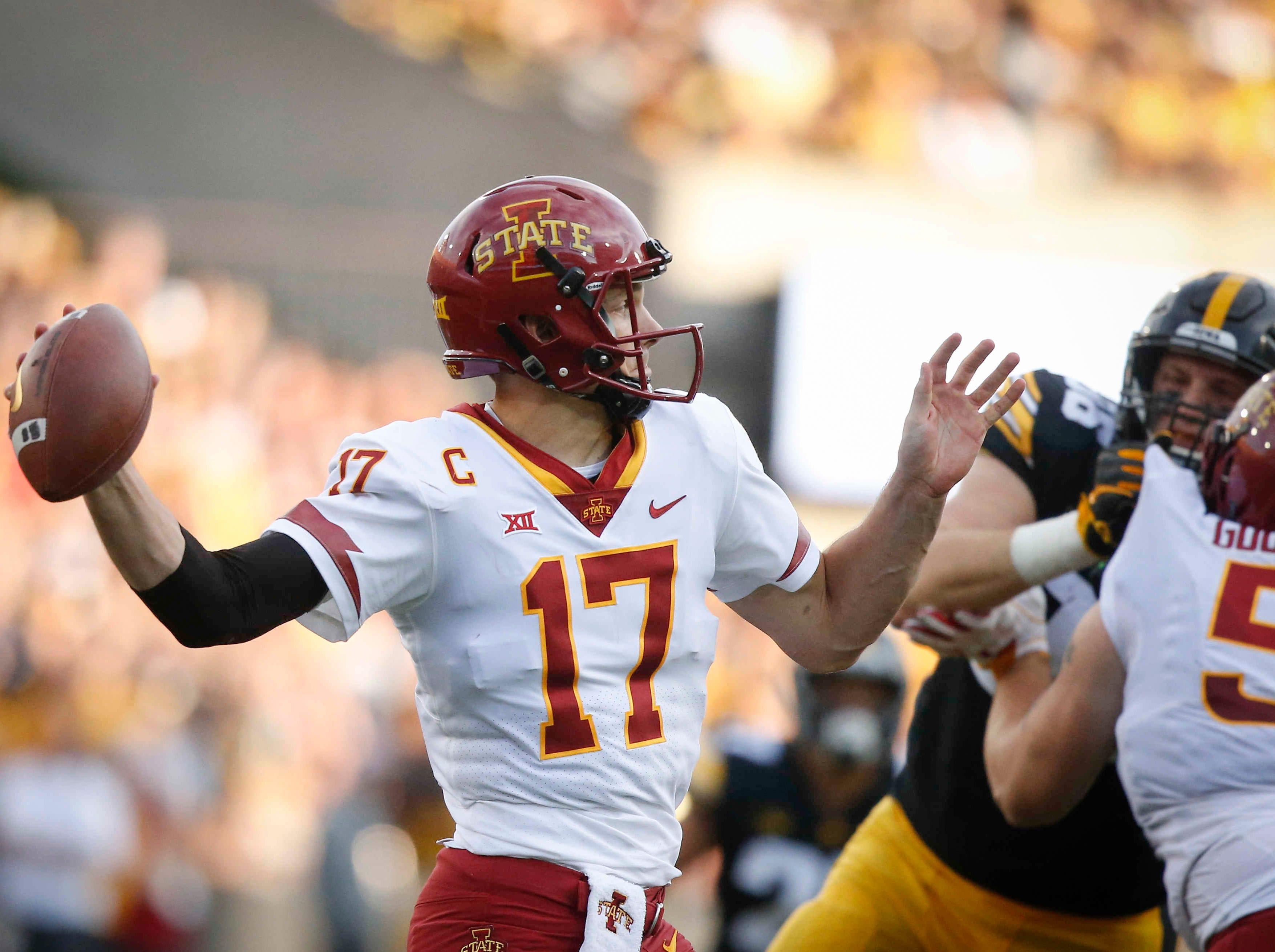 Iowa State quarterback Kyle Kempt fires a throw against Iowa on Saturday, Sept. 8, 2018, at Kinnick Stadium in Iowa City.