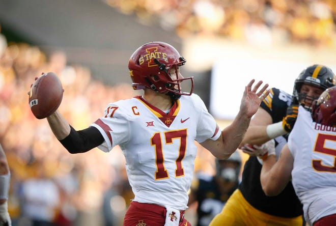 Iowa State quarterback Kyle Kempt fires a throw against Iowa on Saturday, Sept. 8, 2018, at Kinnick Stadium in Iowa City.