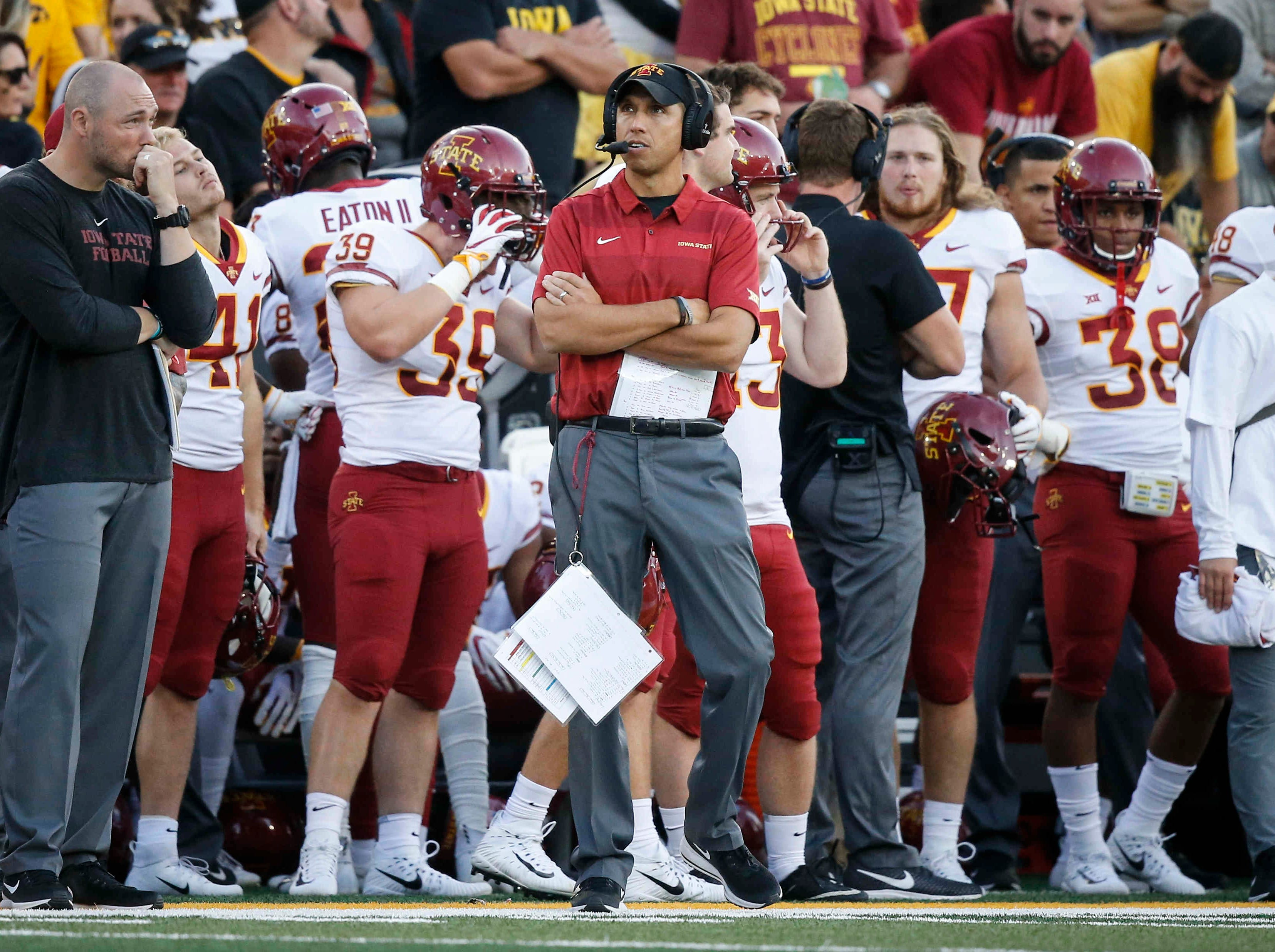 Iowa State head football coach Matt Campbell looks on after a play against Iowa on Saturday, Sept. 8 2018, at Kinnick Stadium in Iowa City.