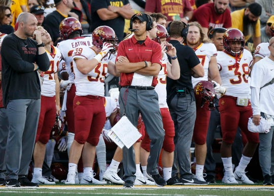 Iowa State football coach Matt Campbell watches during the Cy-Hawk game against Iowa on Saturday in Iowa City.