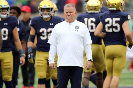 Notre Dame Fighting Irish head coach Brian Kelly before the game against the Ball State Cardinals. Notre Dame defeats Ball State 24-16.  At Notre Dame Stadium in South Bend, Ind.,  on Saturday, Sept. 8, 2018