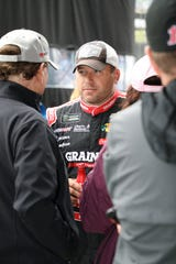 Driver Ryan Newman spoke with fans on Sept. 9, 2018, after driver introductions for the Brickyard 400.